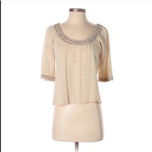 Anthropologie Deletta Wool Knit Tan Ruffled Blouse